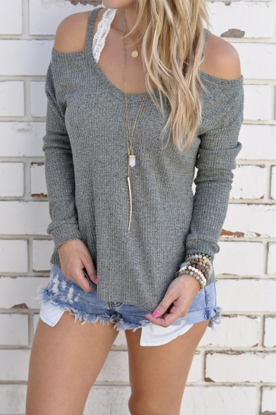 Shoulder Open Top Cold Knitted Womens Blouse Loose Sweater qEv6zR
