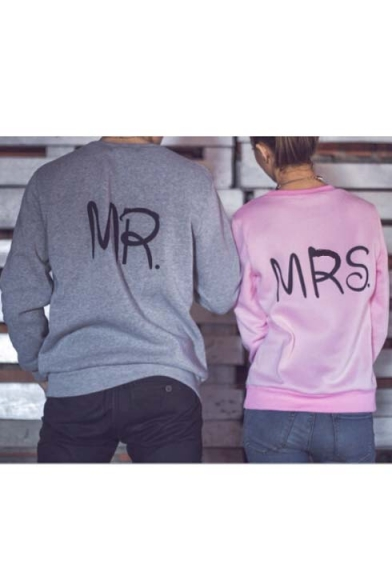 couple mr mrs letter print in back pullover sweatshirt. Black Bedroom Furniture Sets. Home Design Ideas