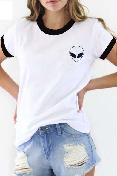 Round Neck Alien Sleeve Print Trim Trendy Short Tee Contrast with TRq8nFWB