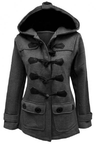 Women's Plus Size Long Sleeve Double Breasted Pea Coat Hoodie ...