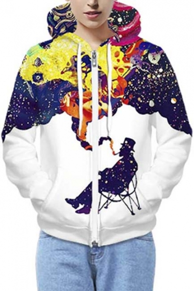 Fashion Unisex Galaxy Print Hooded Zipper Placket Zip Up Hoodie