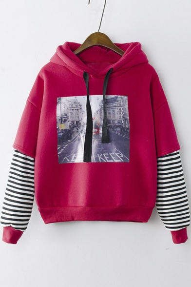 Hooded Striped Dropped Long Sleeve Graphic Print Hoodie