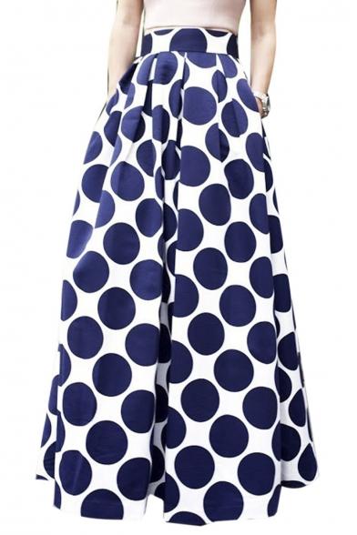 Polka Dot Print Pockets Detail Maxi Skirt