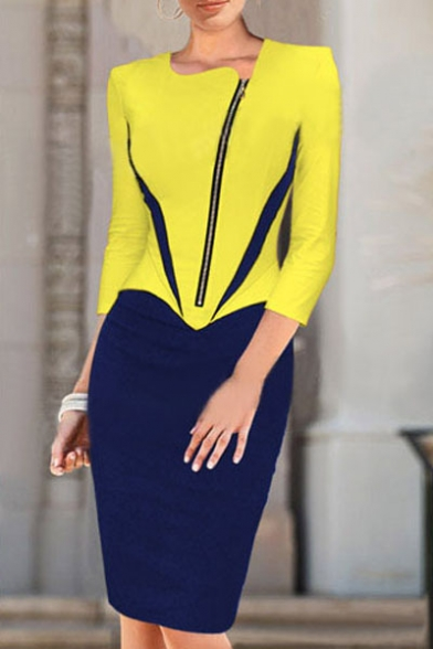 Round Neck 3/4 Sleeve Zip Front Color Block Sexy Pencil Midi Dress