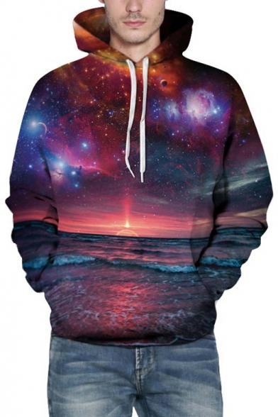 87d88624d3c1 ... Unisex Loose Hooded Galaxy Sunrise 3D Print Long Sleeve Hoodie ...