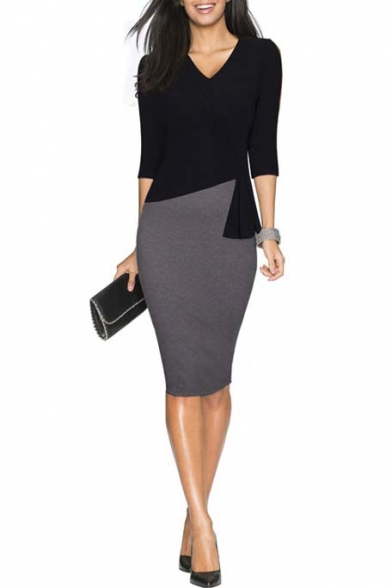 Work Wear Sleeve 3 4 Bodycon Women's Patchwork to Dress Elegant qwXIPTf0