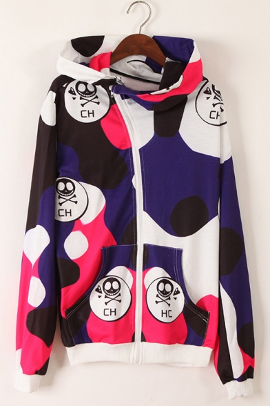 Cartoon Print Zip Placket Loose Hooded Long Sleeve Women's Coat