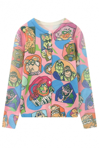 Girl's Cartoon Print Single breasted Long Sleeve Color Block Cardigan
