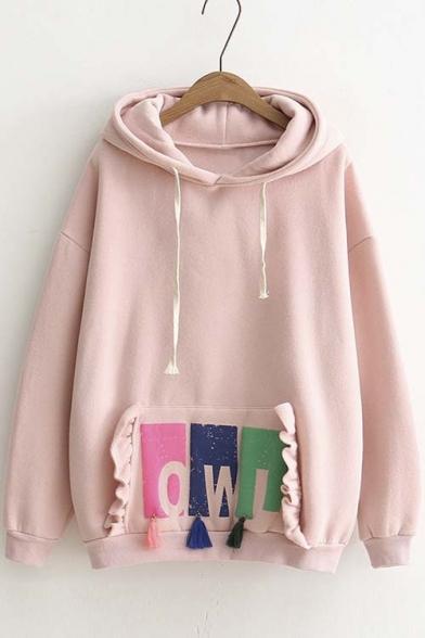New Style Ruffle Tassel Detail Drawstring Hooded Sweatshirt