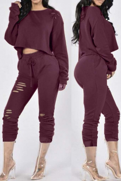 New Stylish Cutout Long Sleeve T-Shirt with Drawstring Waist Cutout Cropped Pants Co-ords