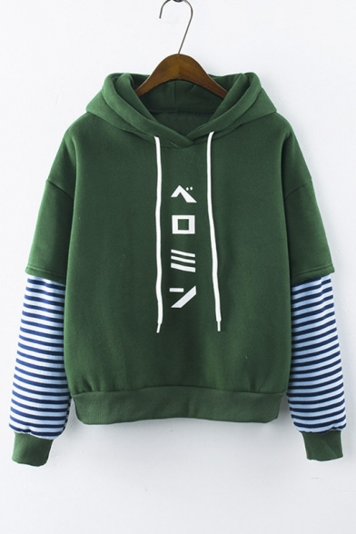 New Stylish Hooded Striped Long Sleeve Japanese Letter