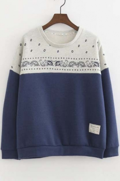 Preppy Style Loose Fish Printed Color Block Pullover Sweatshirt with Long Sleeve