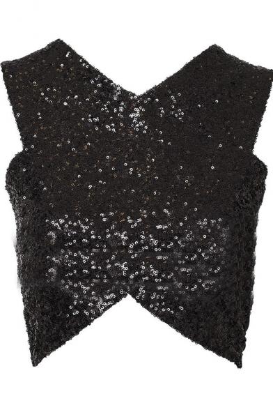 Sexy Top Bodycon Crop Detail Crisscross Sequined qtwRzZ4n