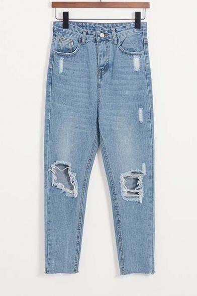 Loose High Waist Ripped Broken Jeans