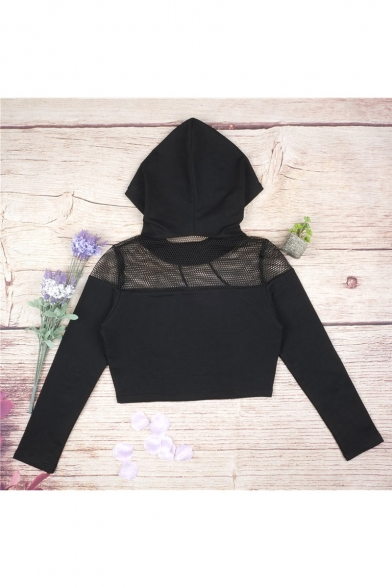 Sexy Hooded Mesh Insert Letter Print Cropped Hoodie