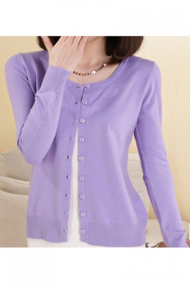 Women Button Down Long Sleeve Basic Soft Knit Cardigan Sweater ...
