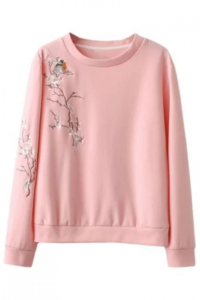 Chic Bird Floral Embroidery Round Neck Long Sleeve Sweatshirt