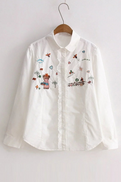 Cute Embroidery Animal Pattern Lapel Single Breasted Button Down ...