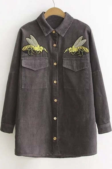 Fashion Animal Embroidery Single Breasted Long Sleeve Corduroy Shirt