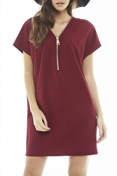 Fashion Zip Design V-Neck Sexy Short Sleeve Shift Mini Dress