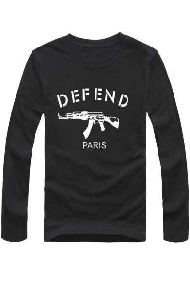 Letter Print Long Sleeve Casual T-Shirt
