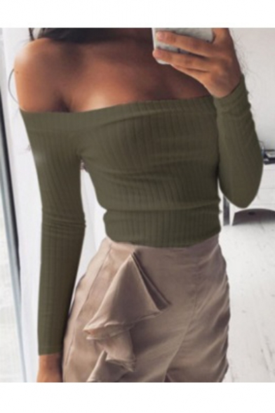 the Off Sexy Plain Blouse Shoulder Sleeve Long Cropped zqwvBax