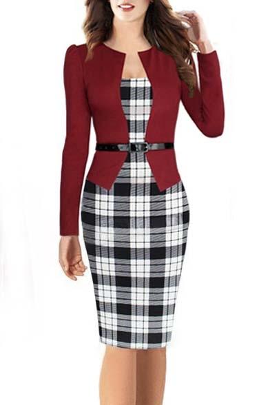 Elegant Women's Colorblock Wear to Work Business Pencil Dress