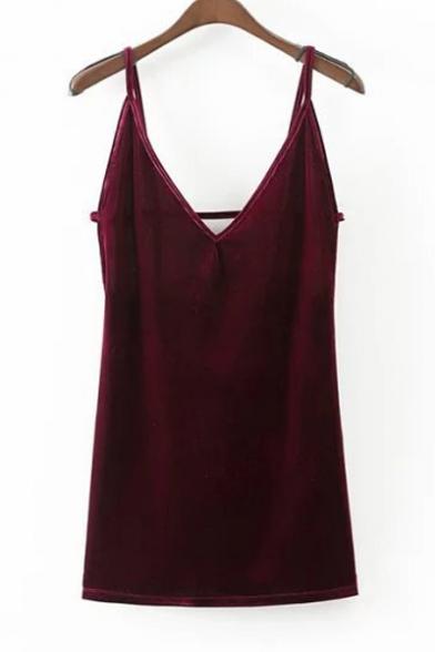 Fashion V-Neck Open Back Pleuche Sexy Slip Dress