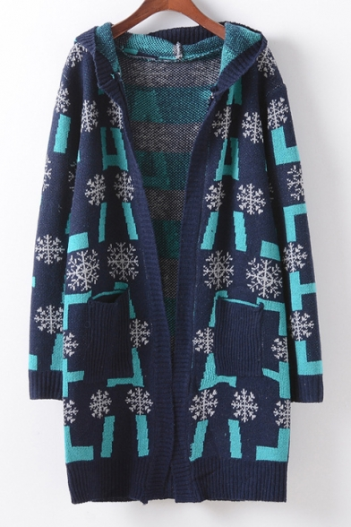 New Arrival Snow Pattern Long Sleeve Hooded Cardigan