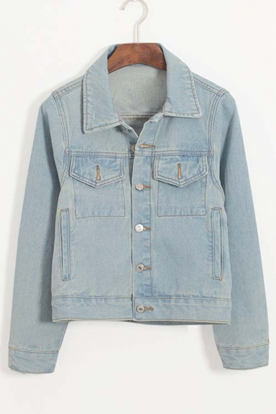 Plain Single Breasted Lapel Long Sleeve Denim Jacket with Two Front Pockets