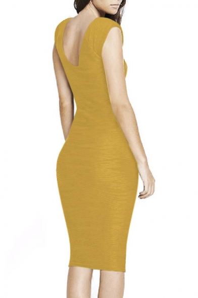 Women's Casual Boat neck Slim Bodycon Business Party Work Pencil Dress