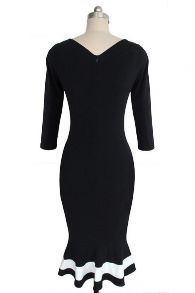 Women's Mermaid 3/4 Sleeve Bodycon Cocktail Dress