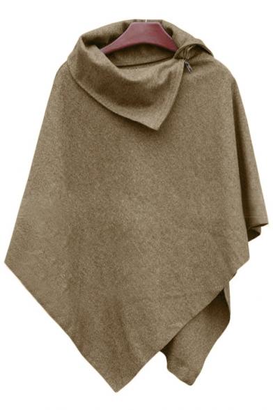 Women Winter Coat Poncho Cloak Irregular Open Collar Cape Tops