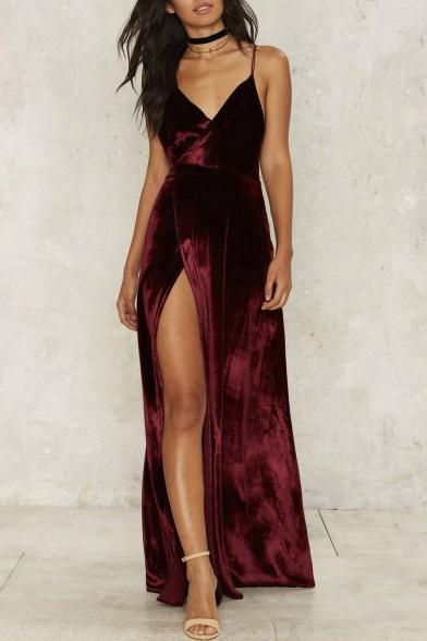 Chic Sexy Spaghetti Straps Crisscross Back Split Side Maxi Evening Dress