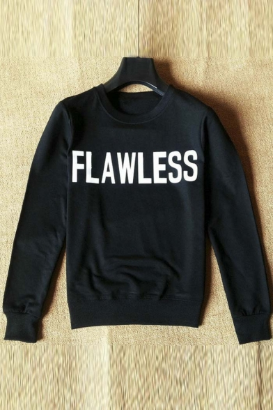 New Fashion FLAWLESS Letter Print Pullover Sweatshirt with Round Neck