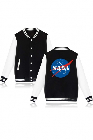 Print Color NASA Sleeve Jacket Contrast Striped Block Baseball Back Long Trendy Trim Single Breasted vSTSA