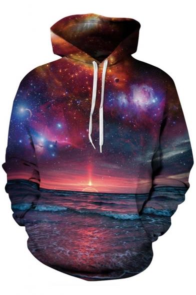 Unisex Loose Hooded Galaxy Sunrise 3D Print Long Sleeve Hoodie