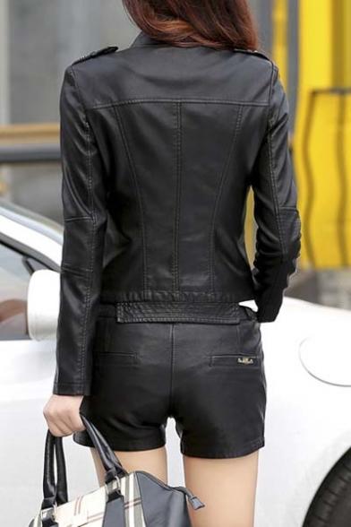 Moto Biker Women's Faux Coat Short Leather Jacket Oq1ExP