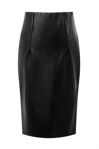 Black High Waist Split Back Bodycon Midi PU Skirt