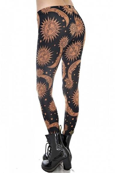 Fashion Boho Sun Moon Print High Waist Leggings