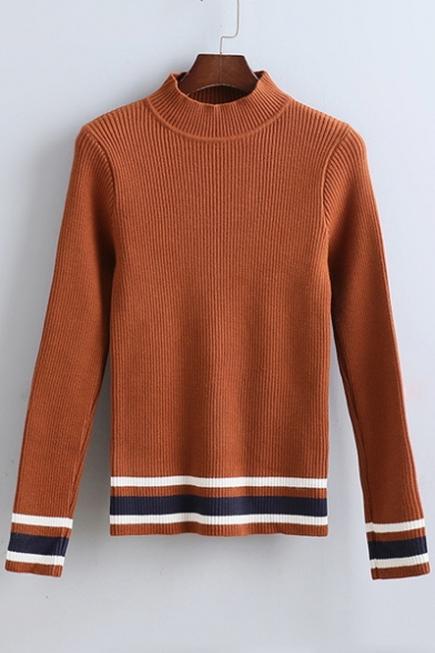 New Arrival Fall Winter Strip Trim Mock Neck Knitted Top