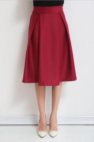 retro style high waist plain pleated a line midi skirt