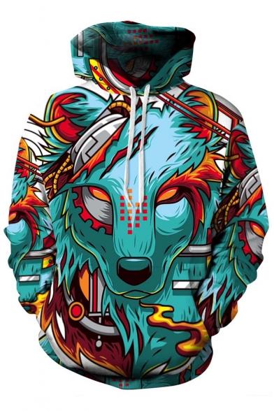 Unisex Wolf Head 3D Print Hooded Long Sleeve Hoodie