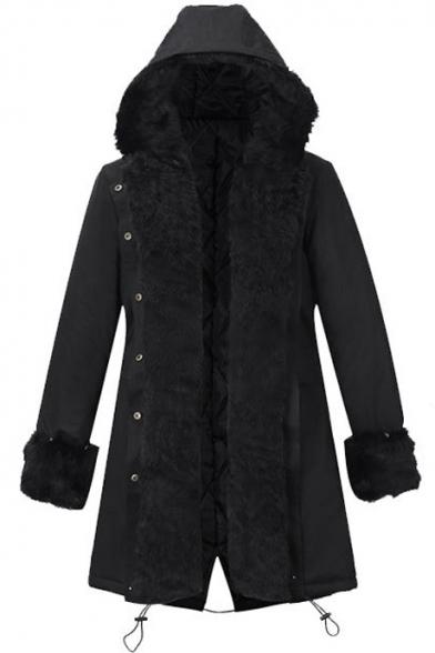 Women Winter Warm Thick Faux Fur Coat Outdoor Hood Parka Long Jacket