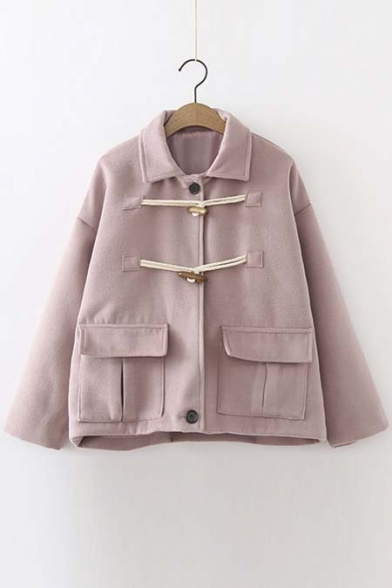 New Arrival Loose Fit Crop Coat with Horns Button
