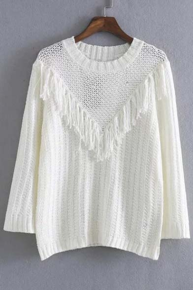 Tassel Front Round Neck Ribbed Knit Sweater