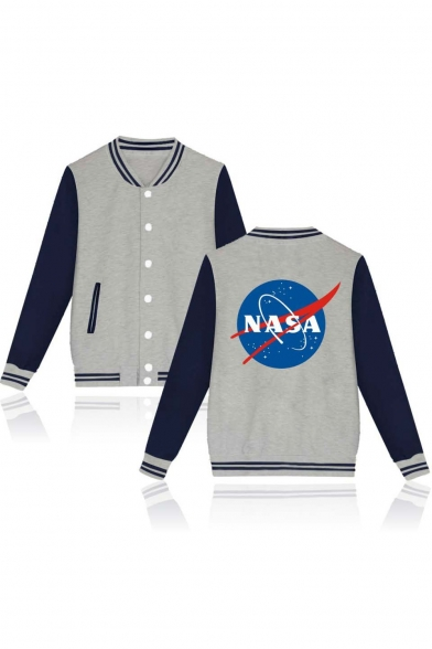 Print Baseball Breasted Jacket Trim Trendy NASA Block Long Color Single Back Sleeve Contrast Striped 755Ov4qw