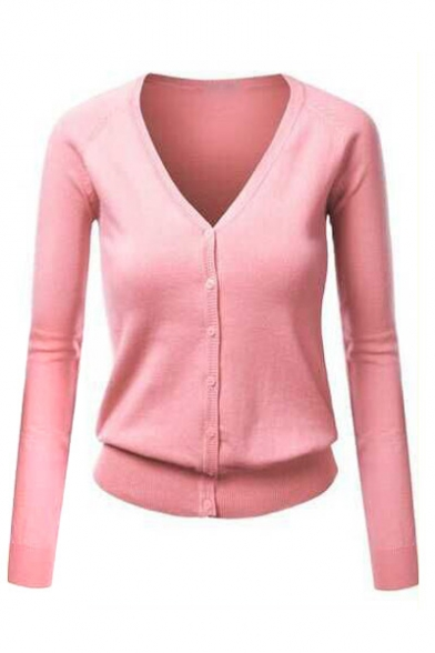 198bac9fbd80 Women Button Down Long Sleeve Basic Soft Knit Cardigan Sweater ...
