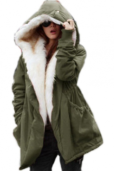 Women Military Winter Casual Outdoor Coat Hoodie Jacket Long Trench Parkas