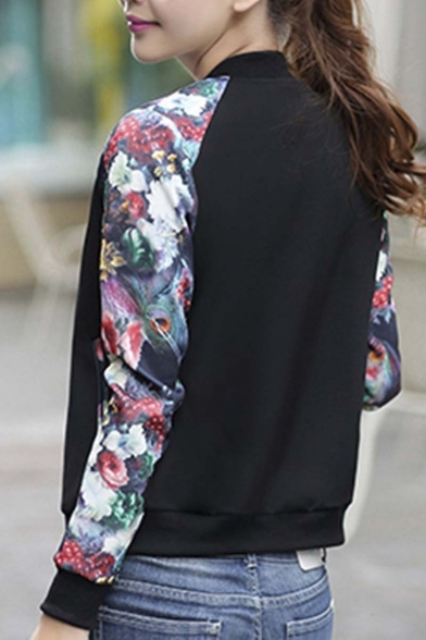 Women's Casual Slim Fit Round Neck Floral Print Baseball Baseball Jacket